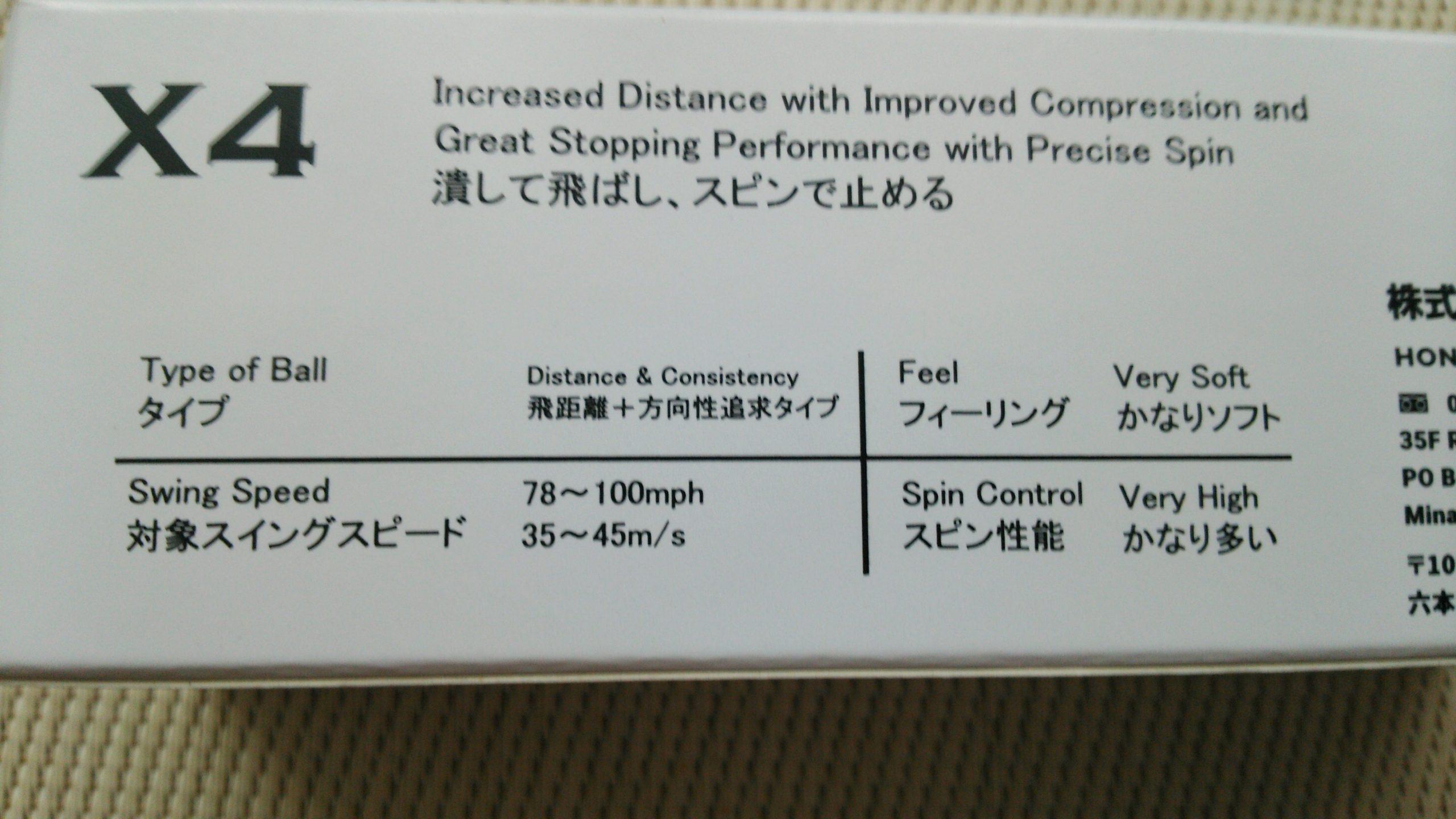 本間ゴルフ X4 説明
